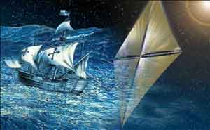 Artwork comparing the Santa Maria sailing ship to a solar sail.