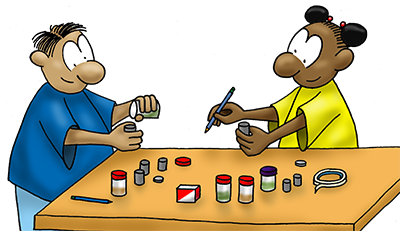 Cartoon of boy and girl doing experiment with small containers on table.