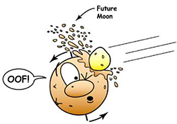 Cartoon of large object hitting Earth, knocking out big chunks of material that become the future Moon, and tilting the Earth's axis.