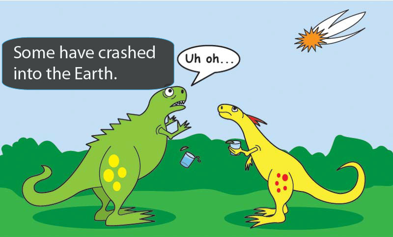 cartoon of two dinosaurs looking at a flaming object in the sky. One says 'Uh-oh!'