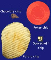 Size comparison of chocolate chip, potato chip, poker chip, and computer chip