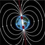 Diagram of Earth's magnetic lines of force, coming out near the South Pole and curving around Earth to re-enter naer the North Pole.