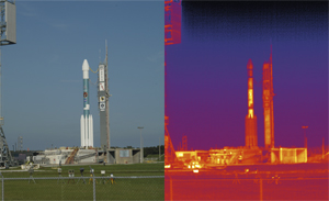 Spitzer: The Spitzer Space Telescope ready for launch on a Delta rocket in 2003. The launch pad appears in visible light (left) and in infrared light. The warmest areas appear white and yellow. The coolest are purple and dark blue.