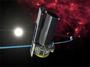 Spitzer in orbit: The Spitzer Space Telescope in its Earth trailing orbit around the Sun. It is far from the warm Earth (radiating in infrared) so that its  sensitive instruments can more easily detect infrared light from other sources in the Universe.