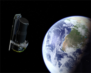 On its way: The Spitzer Space Telescope on its way to its Earth-trailing orbit. Spitzer orbits the Sun in the same path as Earth, except following far enough behind so that heat from Earth will not interfere with Spitzer's sensitive instruments.