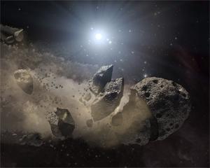 Alien asteroids: How asteroids might look after breaking up when they get too close to their star. In this case, their star is a white dwarf, the remains of a star like our Sun at the end of its life. Spitzer's infrared detectors sense these dusty clouds and what they are made of.