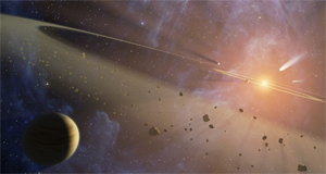 Epsilon Eridani: The closest known planetary system to our own might look like this. The Spitzer Space Telescope has detected two asteroid belts, a couple of planets, and an outer ring of comets.