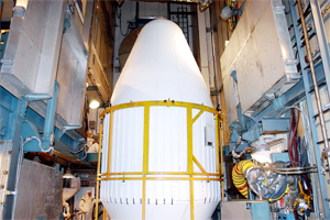 Fairing: The Spitzer Space Telescope is inside the rocket's nose, which is called a fairing. It will protect the telescope as the rocket carries it to space. Once in space, the fairing will open and release the telescope, which will travel on to its planned orbit.