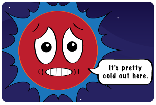 A red giant sun cartoon saying, it is pretty cold out here.