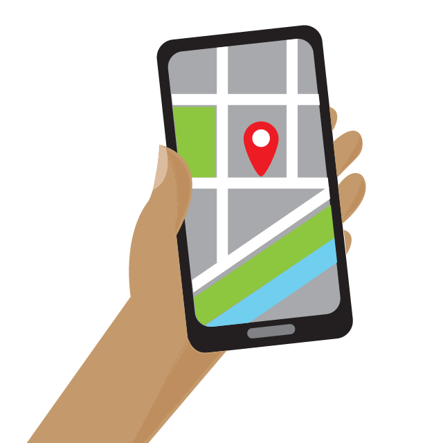 Illustration of a hand holding a phone with a maps application active.
