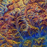 Mountains in Tibet as seen by radar