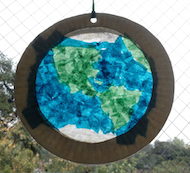 Photo of the completed stained glass Earth activity.
