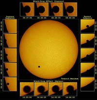 Series of photos shows venus' progress across the face of the sun in 2004.