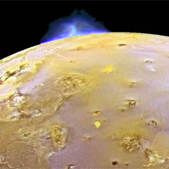 false color image of Io with eruption. Credit: NASA/JPL