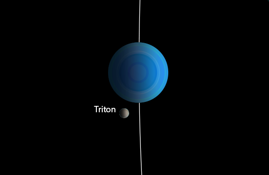 close-up illusrtration of of Neptune and Triton