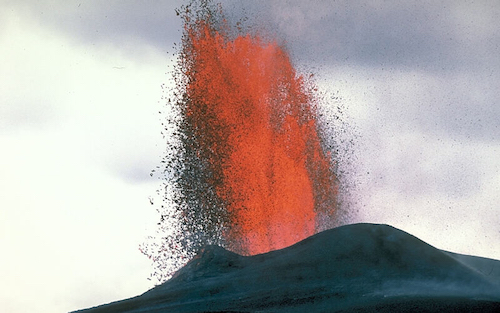 photograph of the Sakurajima volcano.