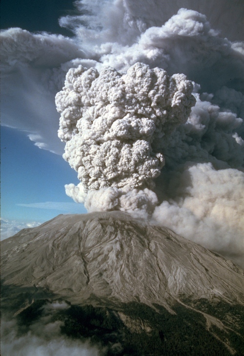This photograph shows an eruption of Mount St. Helens in Washington in July 1980.