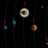 a screengrab from the game Space Volcano Explorer showing planets in our solar system with red exclamation points above
