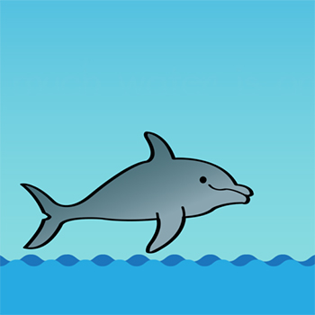 an illustration of a dolphin jumping out of the water