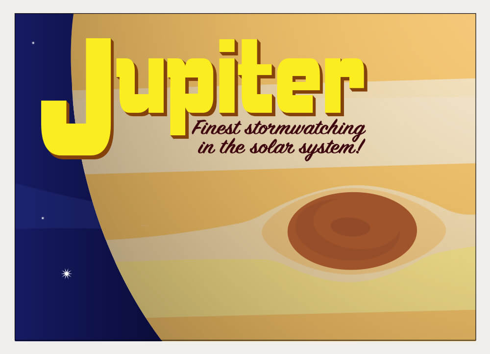 A stylized postcard illustration of Jupiter.