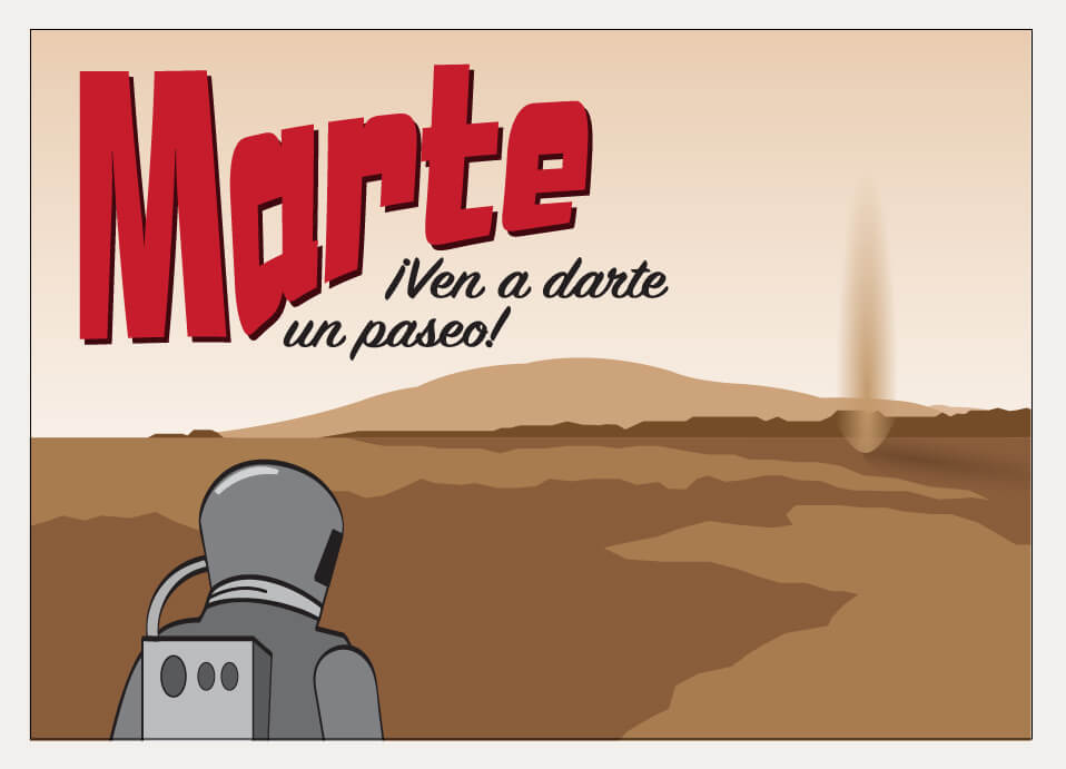 A stylized postcard illustration of the surface of Mars.
