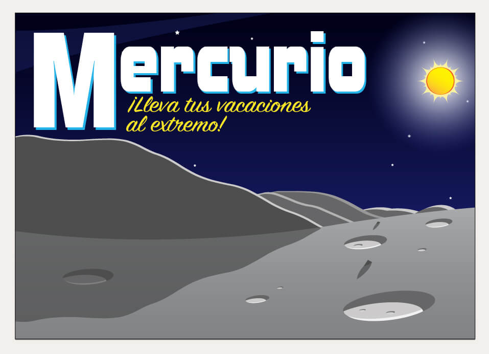 A stylized postcard illustration of the surface of Mercury.