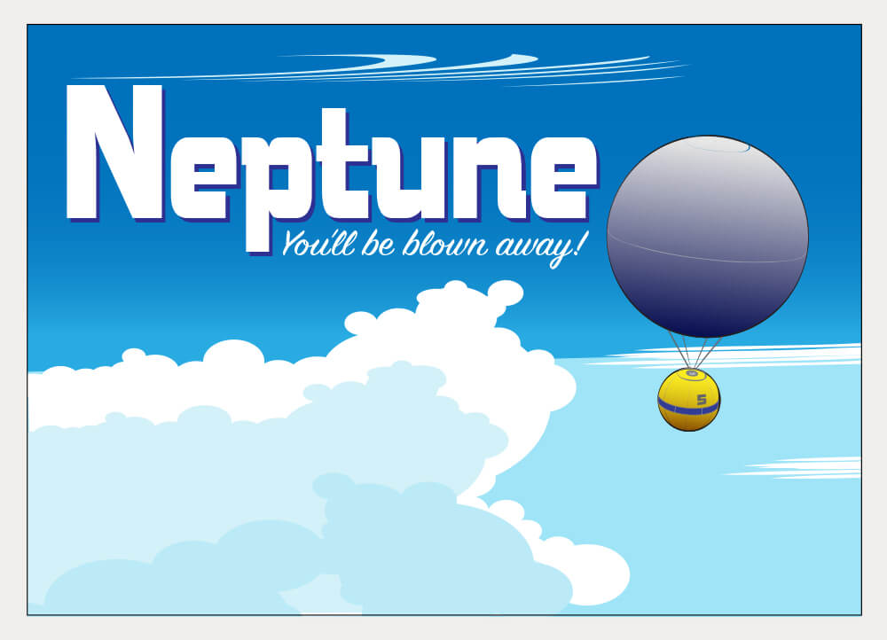 A stylized postcard illustration of Neptune.