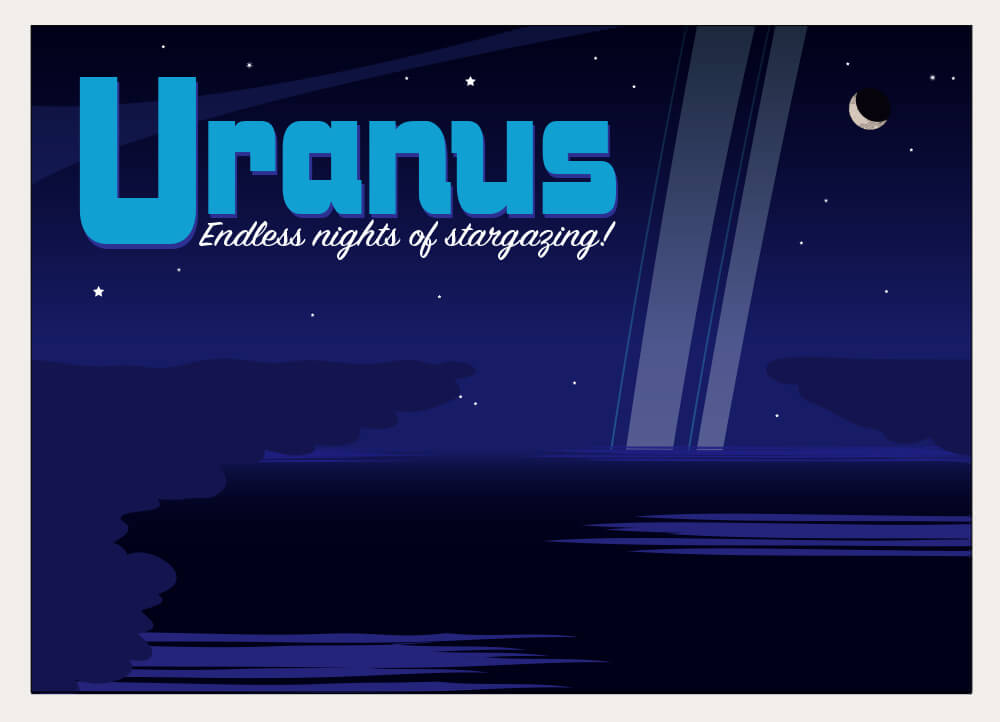 A stylized postcard illustration of Uranus.