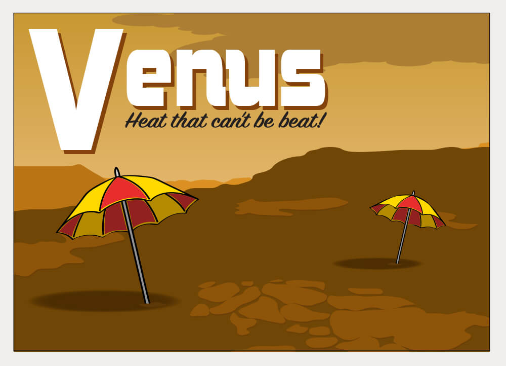 A stylized postcard illustration of the surface of Venus with umbrellas.