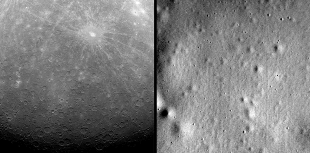 Pictures of the surface of Mercury captured by NASA's MESSENGER spacecraft.