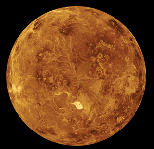 Mosaic image of Venus captured by NASA's Magellan and Pioneer Venus spacecraft.