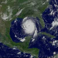 Hurricane Katrina as seen by GOES.