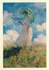 Painting of lady with umbrella, blue sky in background with fluffy white clouds.