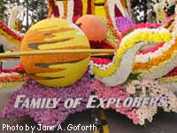 Family of Explorers title on float.