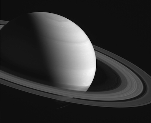 An image of Saturn taken by the Cassini spacecraft.
