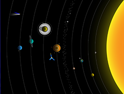 Drawing of the solar system.