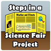 Drawing of a science fair project display.