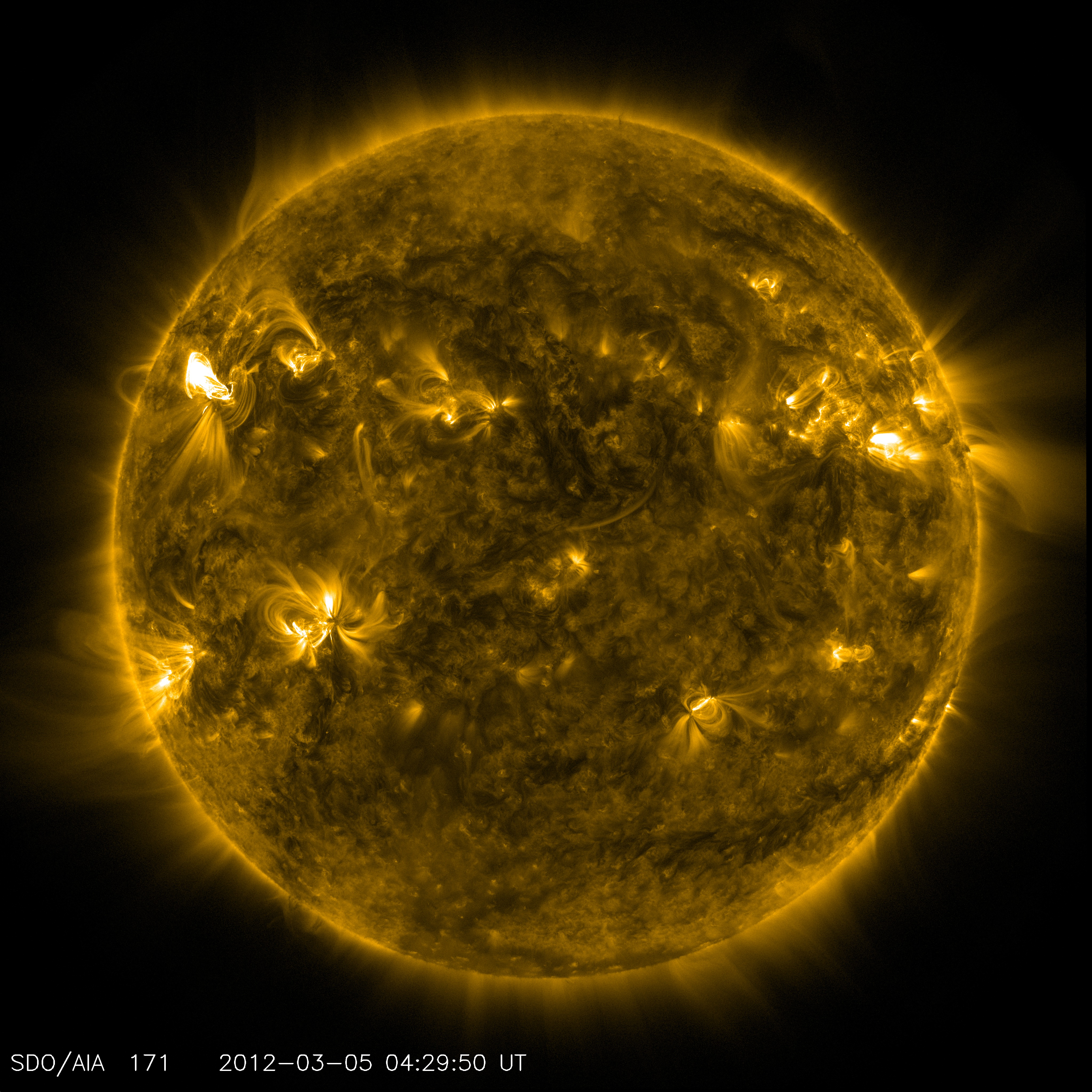 An image of active regions on the sun from NASA�s Solar Dynamics Observatory. The glowing hot gas traces out the twists and loops of the sun�s magnetic field lines.