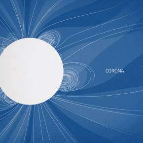 an illustration of the sun's corona in blue and white lines