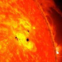 an image of sunspots on the Sun