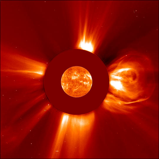 An image of a coronal mass ejection observed by NASA�s Solar and Heliospheric Observatory, or SOHO, satellite in 2001. Credit: ESA/NASA/SOHO
