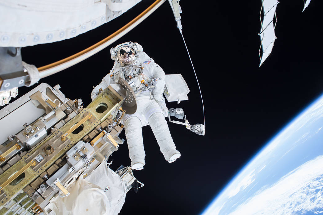 NASA Astronaut Tim Kopra on a 2015 spacewalk outside the International Space Station. Credit: NASA
