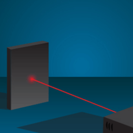 an illustration of a red laser beam
