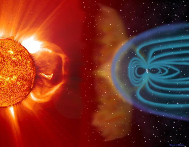 An illustration showing the Sun's solar wind as orange flares blowing toward Earth and shaping Earth's magnetic field as blue lines