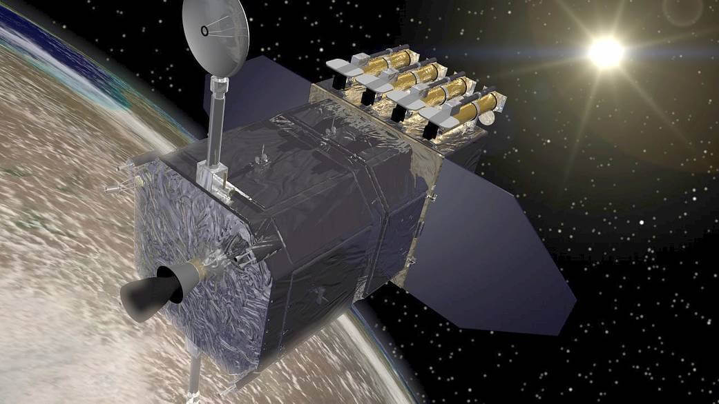An illustration of the NASA spacecraft the Solar Dynamics Observatory