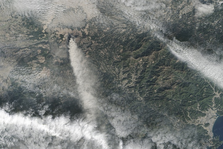 Landsat image of an eruption.