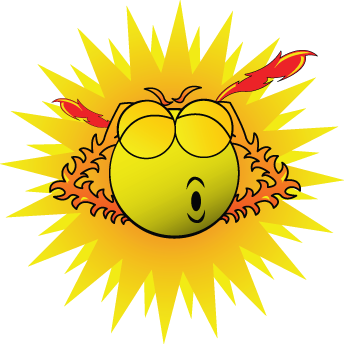 Cartoon Sun looks as if he is about to explode!