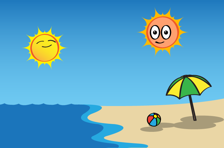 cartoon of two suns smiling over a beach