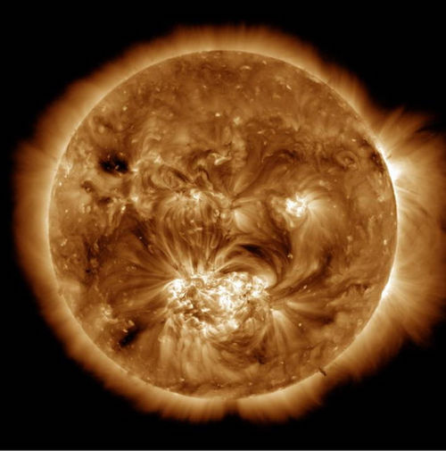 Image of corona from NASA's Solar Dynamics Observatory showing features created by magnetic fields.