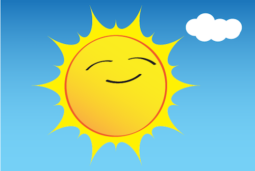 an illustration of the Sun smiling in the sky